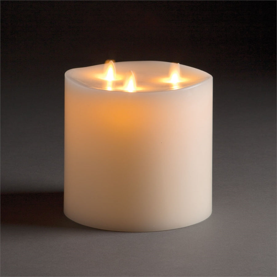 "Tri-flame Luminara Lightli battery operated moving flame LED candle Classic LED Pillar Candle 6""x6"" Ivory"