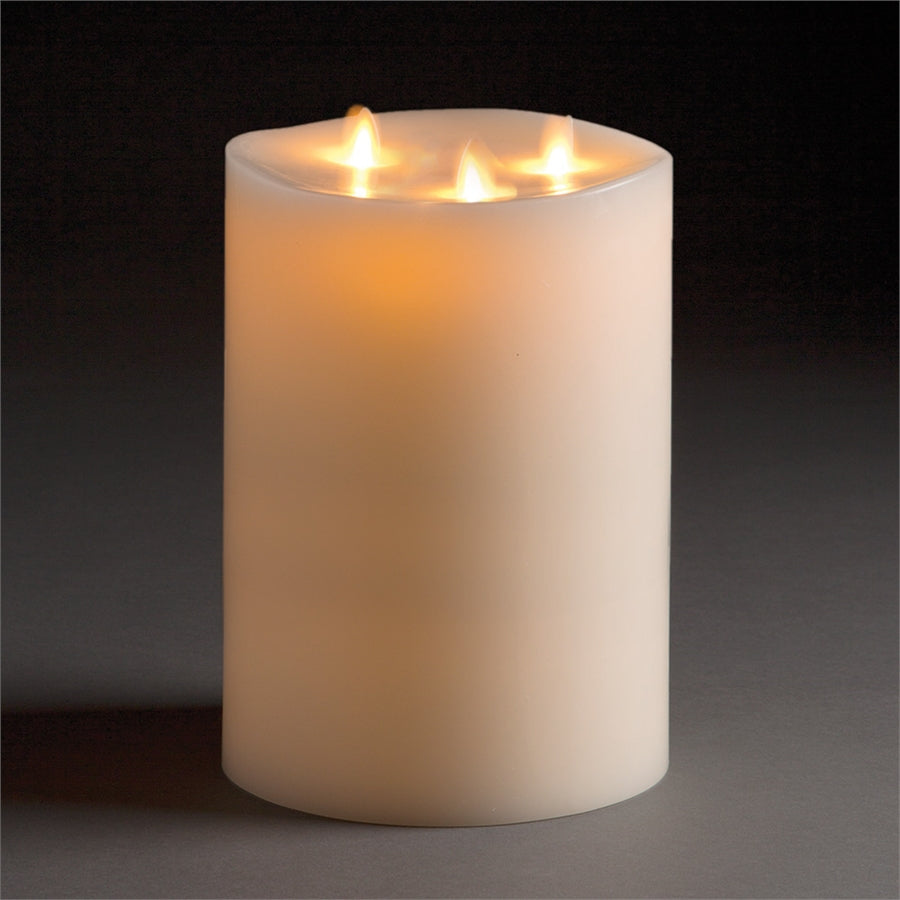 "Tri-flame Luminara Lightli battery operated moving flame LED candle Classic LED Pillar Candle 6""x10"" Ivory"