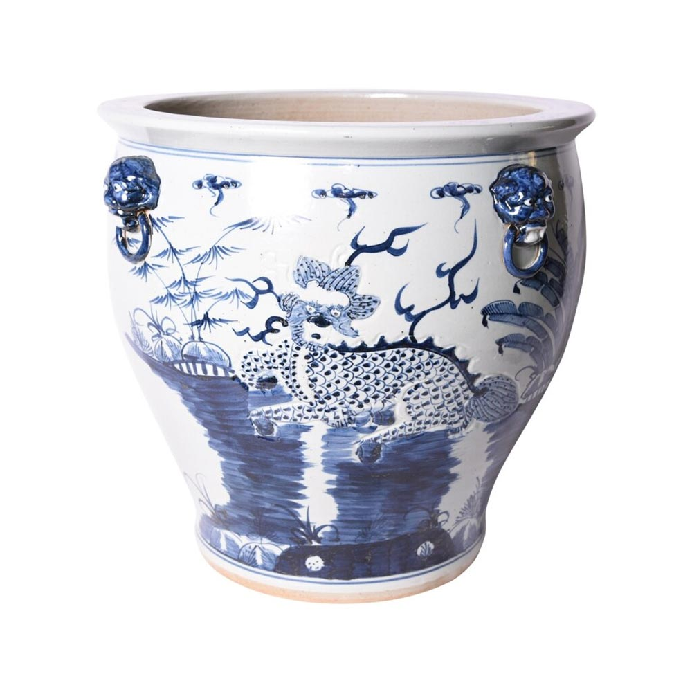 Classic Blue & White asian planter handmade chinoiserie large planter