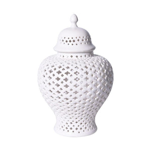 White Lattice Ginger Jar candle luminary candle lantern jar candle holder lattice vase