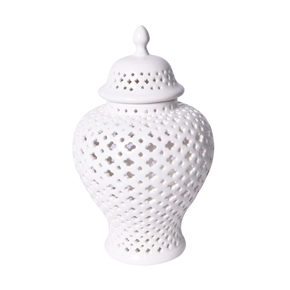 White filigree Ginger Jar candle luminary candle lantern jar candle holder lattice vase