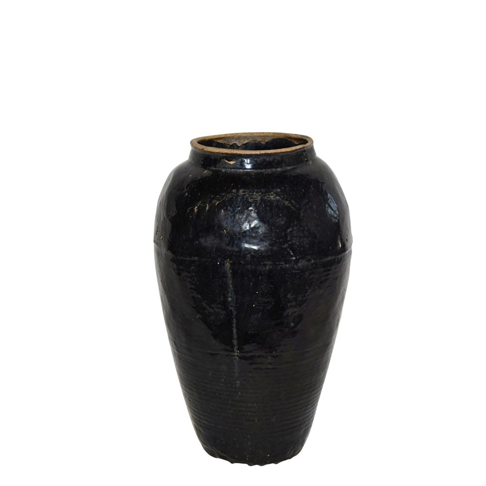 black ceramic antique wine jug rustic black jar vintage black jar