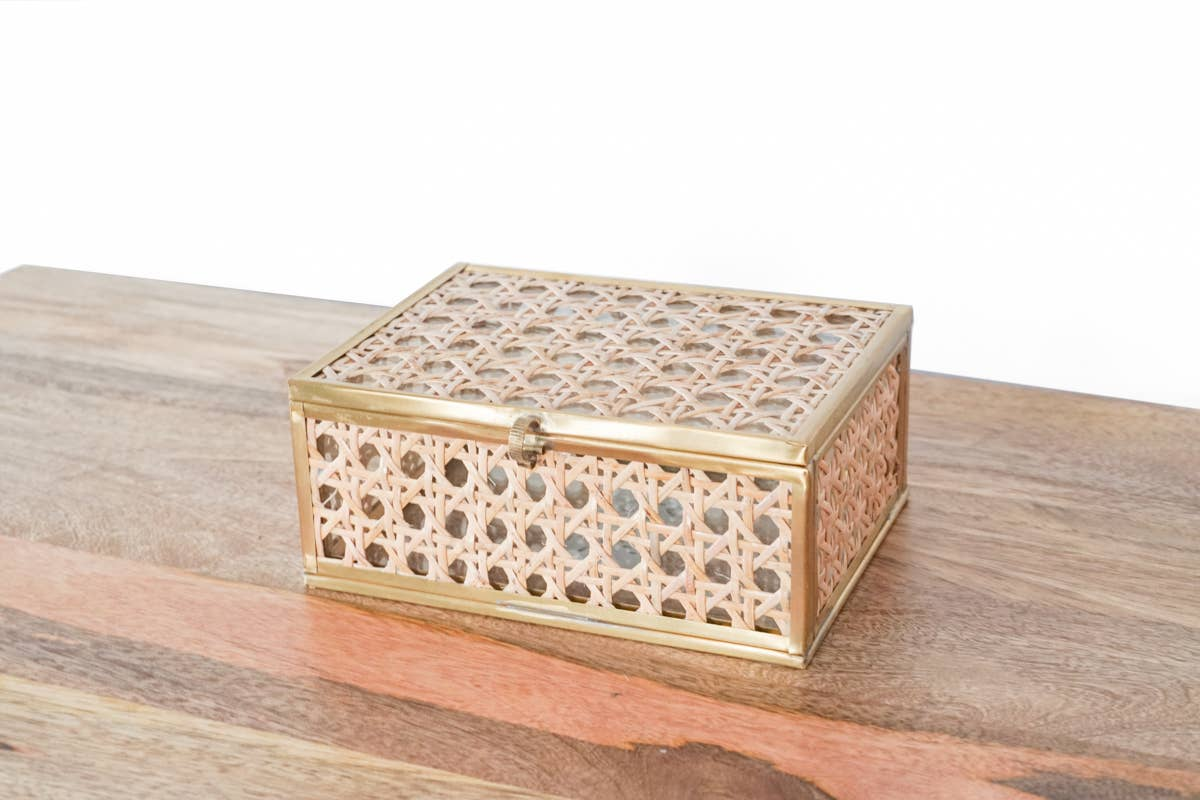 Natural Cane Wicker Box Small