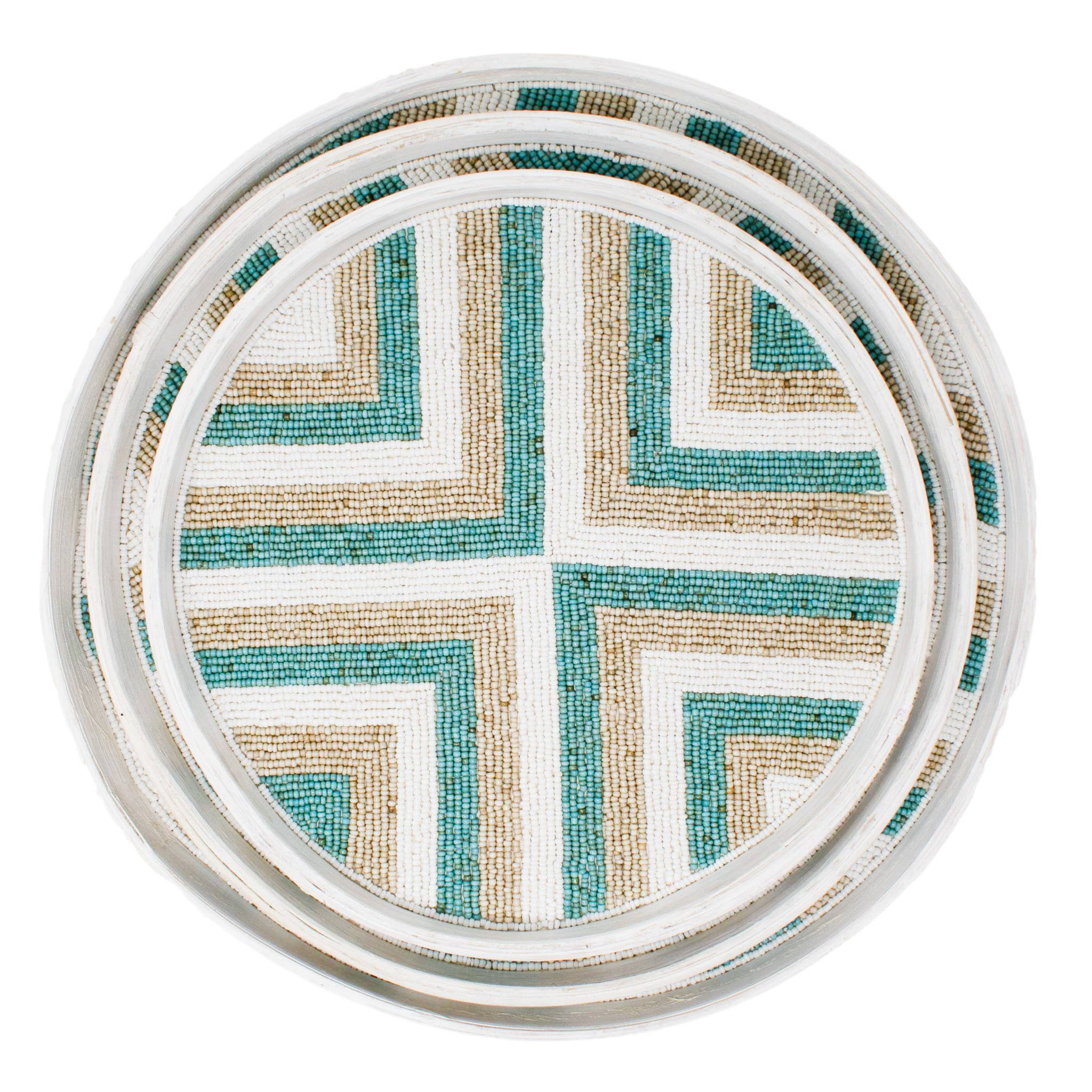 Riviera Tray Aqua/Natural/White