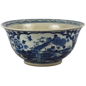 Classic Blue & White asian Bowl handmade chinoiserie foot stomp clay bowl