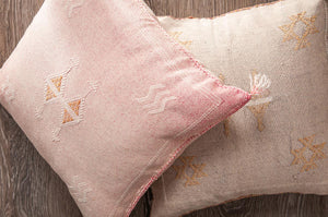 Tan Moroccan cactus silk pillows sabra pillows sabra silk pillows Moroccan imported pillows