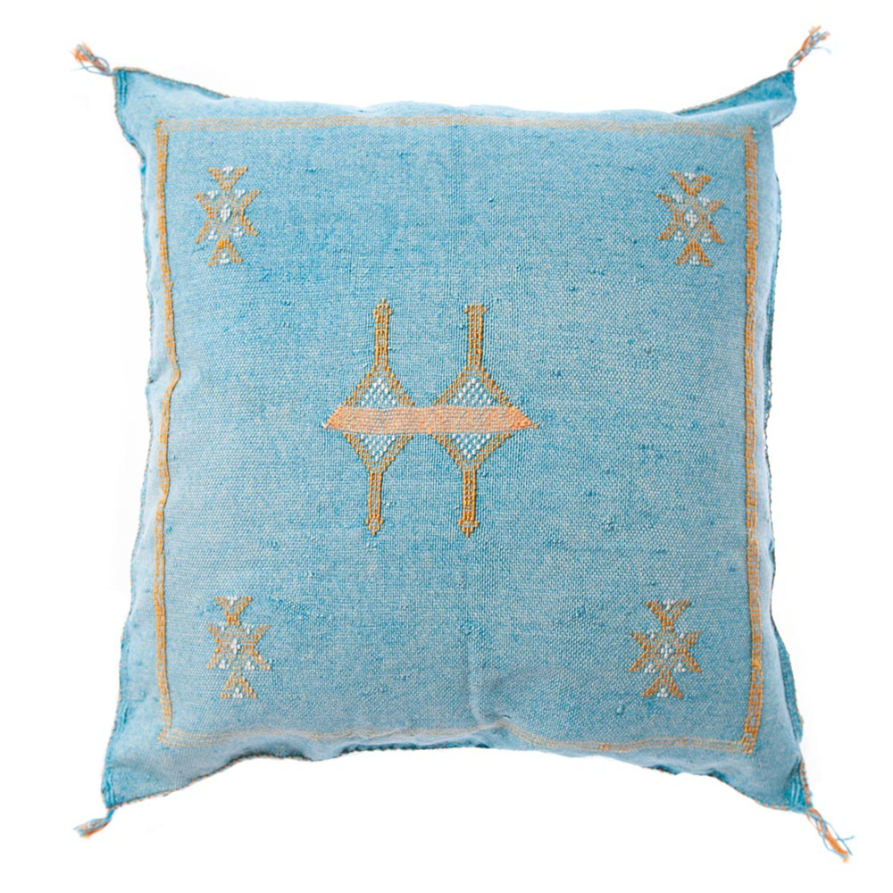 Moroccan cactus silk pillow turquoise sabra pillows sabra silk pillows Moroccan imported pillows