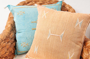 Orange Moroccan cactus silk pillows sabra pillows sabra silk pillows Moroccan imported pillows