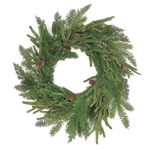Faux Mixed Pine Wreath 24""