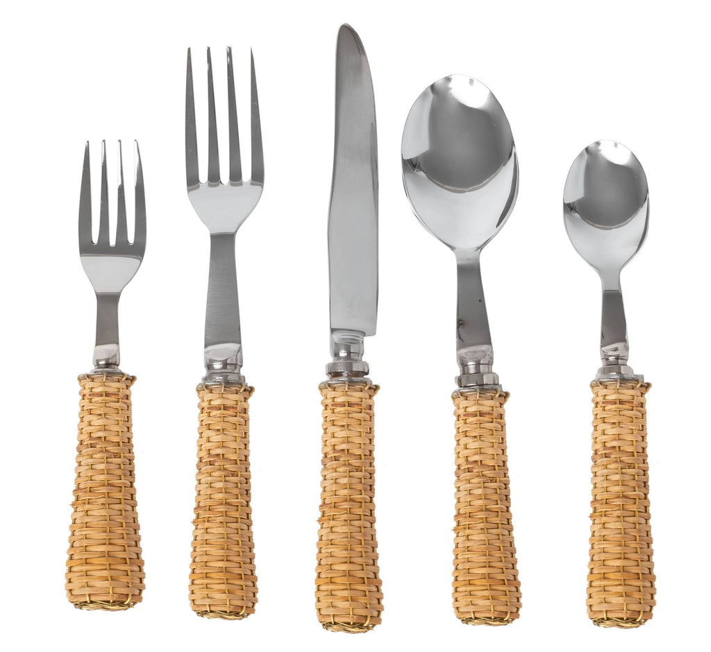 Basketweave Five Piece Flatware Set