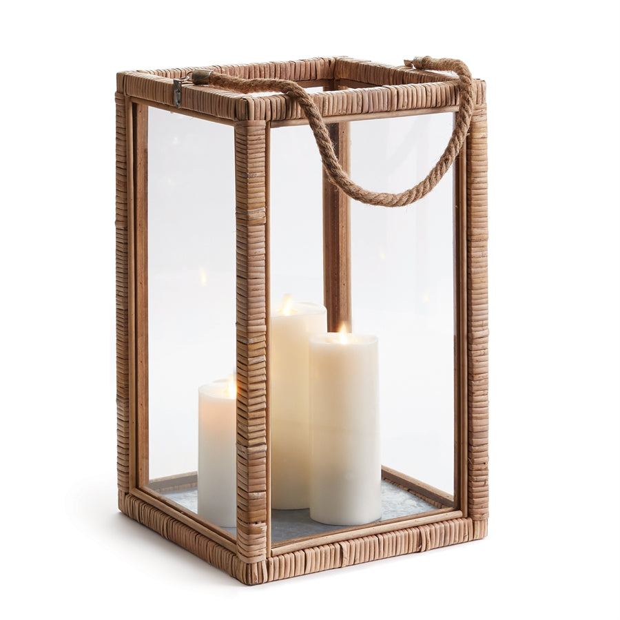 Rattan Lantern wood candleholder rattan wrapped hurricane boho luminary glass lantern