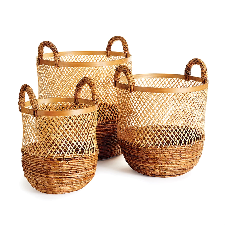 Tall water hyacinth basket with handles large basket with handles large tree basket large bamboo basket