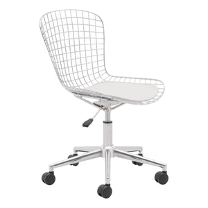 Wire Office Chair Chrome W/ White Cushion