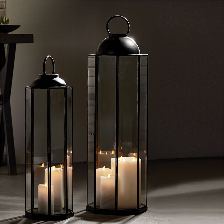 Large Metal Lantern metal candleholder metal hurricane metal luminary glass lantern