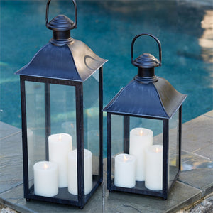 coach house Lantern metal pool side lantern traditional metal hurricane large glass lantern