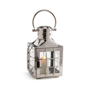 silver nautical Lantern silver candleholder silver nautical hurricane metal glass lantern