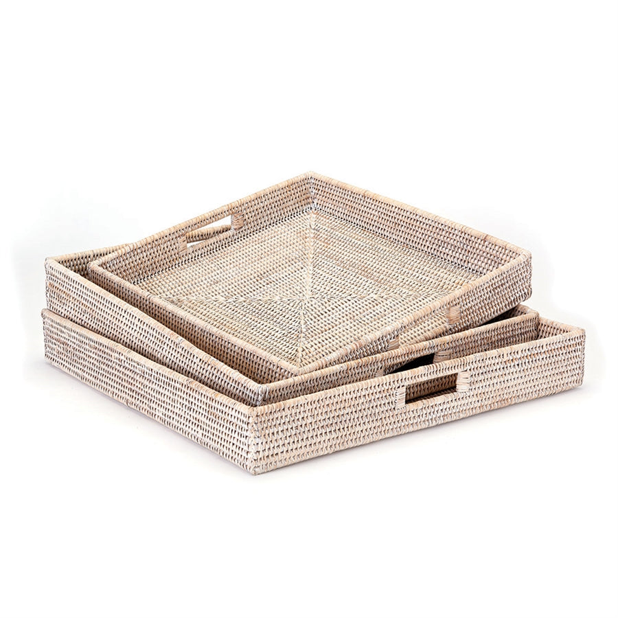 Square rattan tray, woven breakfast tray, woven entertaining tray, rattan service tray