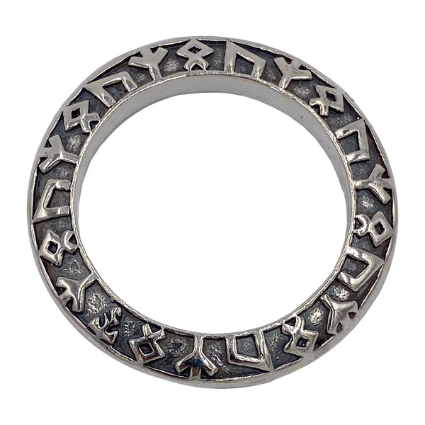 Large Rune Ring on Small Medieval Chain