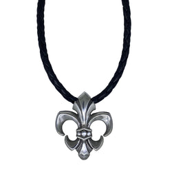 Fleur de Lis on Leather Necklace