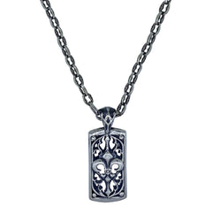 Gothic Dog Tag on Small Medieval Chain Necklace