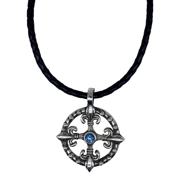 Life Compass on Leather Necklace
