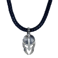 Spartan Mask on Leather Necklace