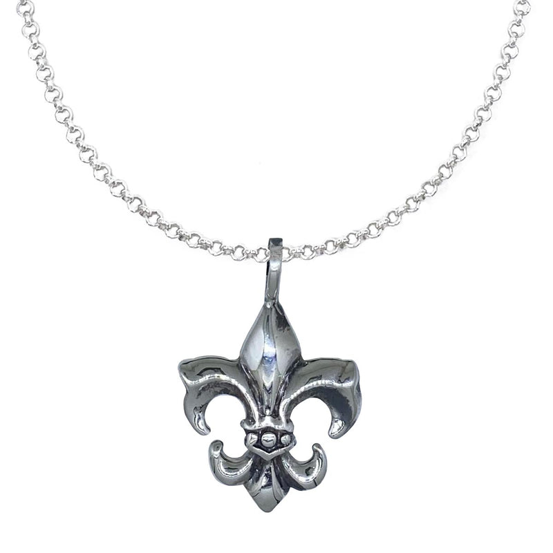 Small Fleur de Lis on Extra Small Silver Chain Necklace