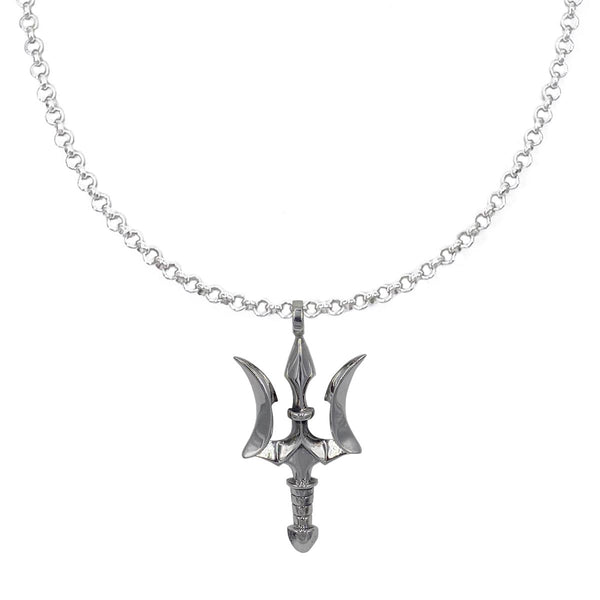 Small Trident on Extra Small Silver Chain Necklace