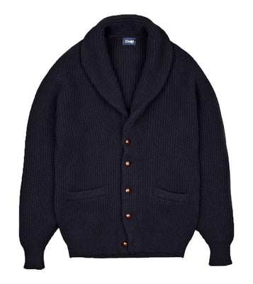 Drake's - Cardigan, Navy Lambswool Shawl Collar, Knitwear | NEW TAILOR Webshop