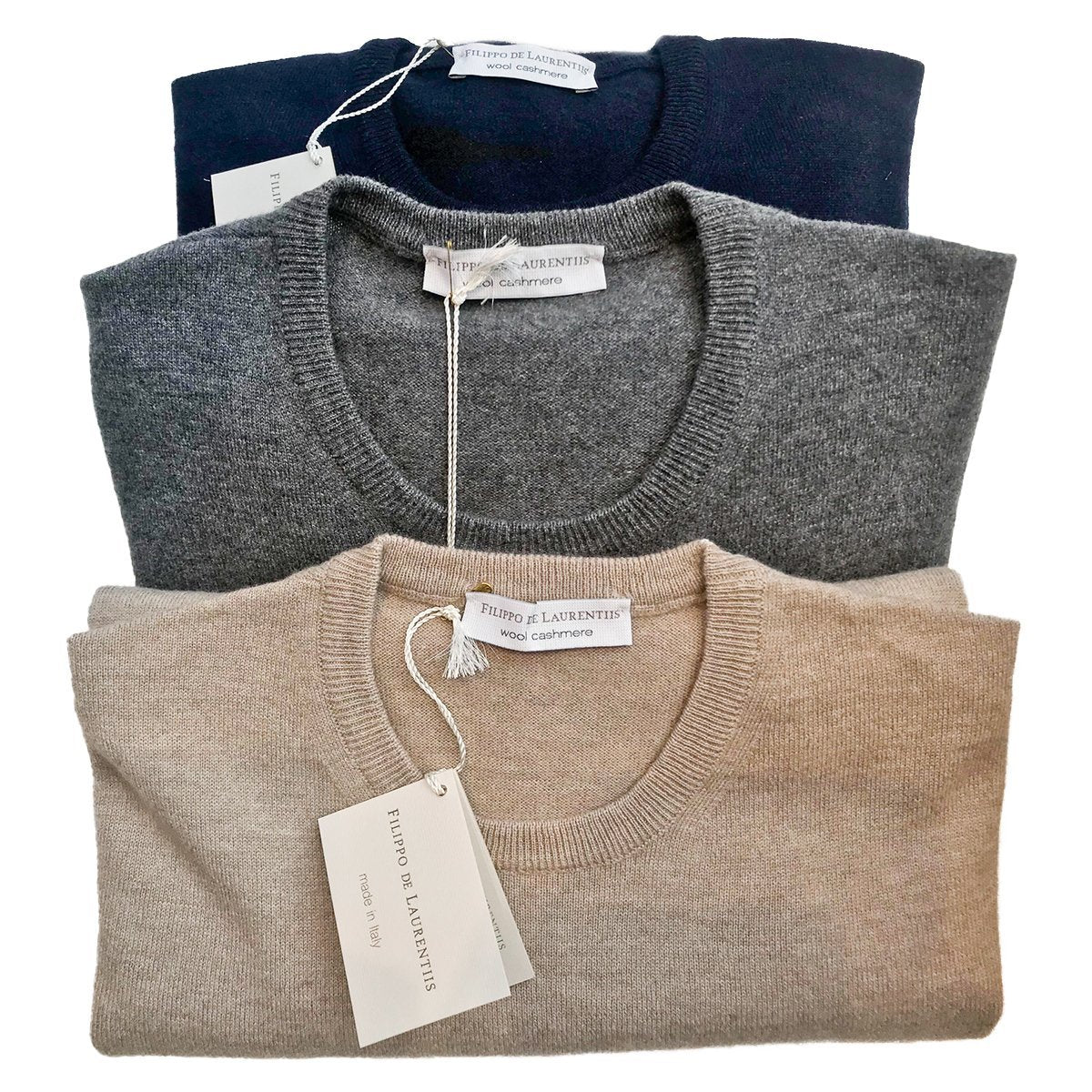 Filippo de Laurentis - Crewneck, Beige, Knitwear | NEW TAILOR Webshop