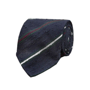 Das, Navy & Burgundy Stripe Shaggy Grenadine Silk, Drakes | NEW TAILOR | Bringing together classic stripes and rich, tactile texture, this is a deceptively versatile tie. 100% Silk Handmade in London, England Handrolled Blades 8cm x 147cm