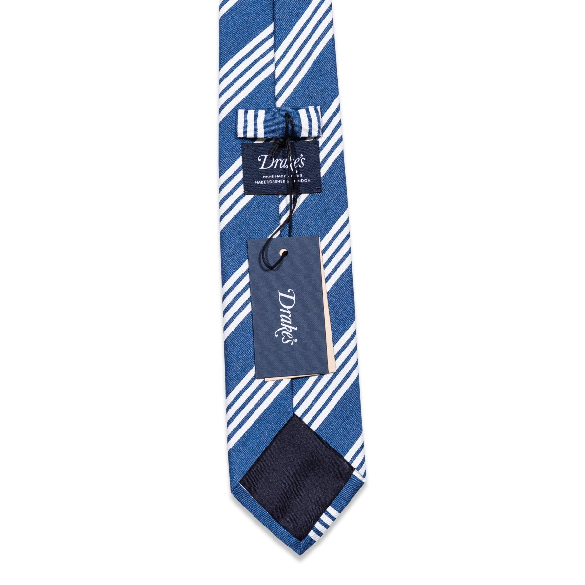 Drake's - Das, Steel Blue & White Stripes, Dassen | NEW TAILOR Webshop