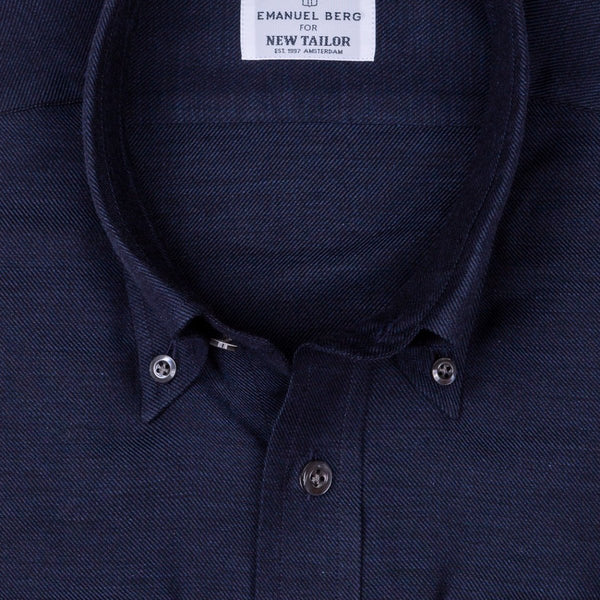 Emanuel Berg - Maatshirt, Dark-Blue Plain Cotton/Cashmere (Smart Casual), Shirt | NEW TAILOR Webshop