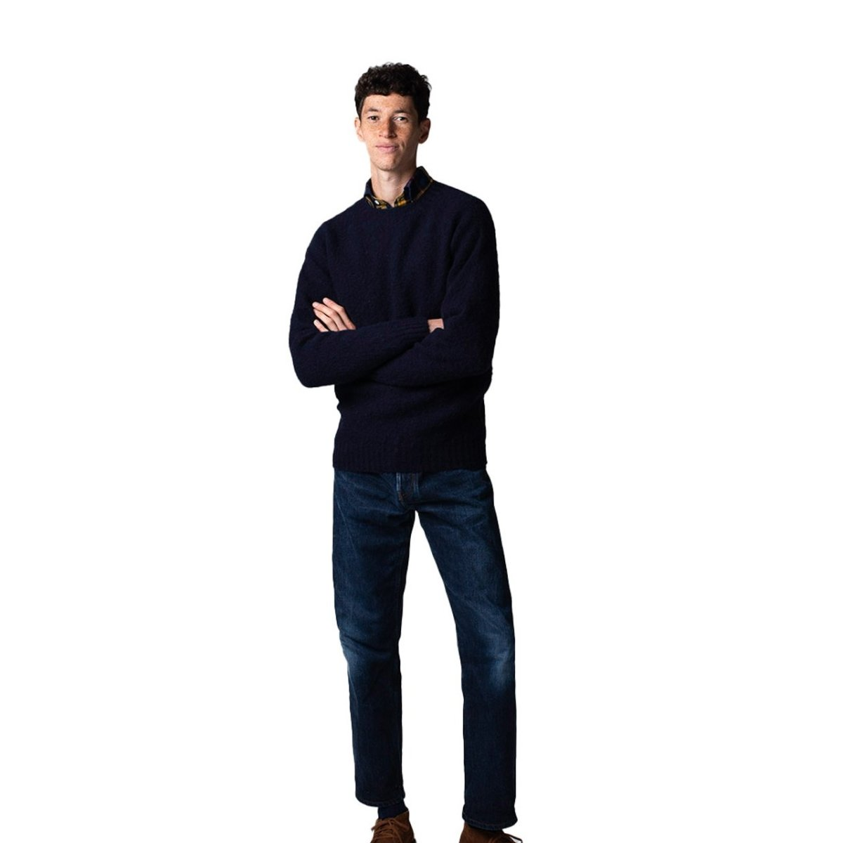 Drake's - Navy Brushed Shetland Wool Crew Neck Jumper, Knitwear | NEW TAILOR Webshop