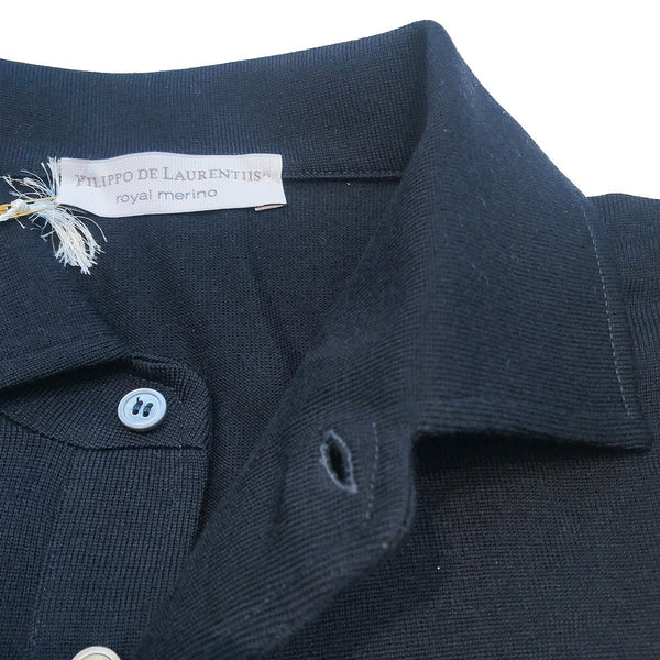 Filippo de Laurentis - One-Piece Collar Polo, Royal Blue, Knitwear | NEW TAILOR Webshop