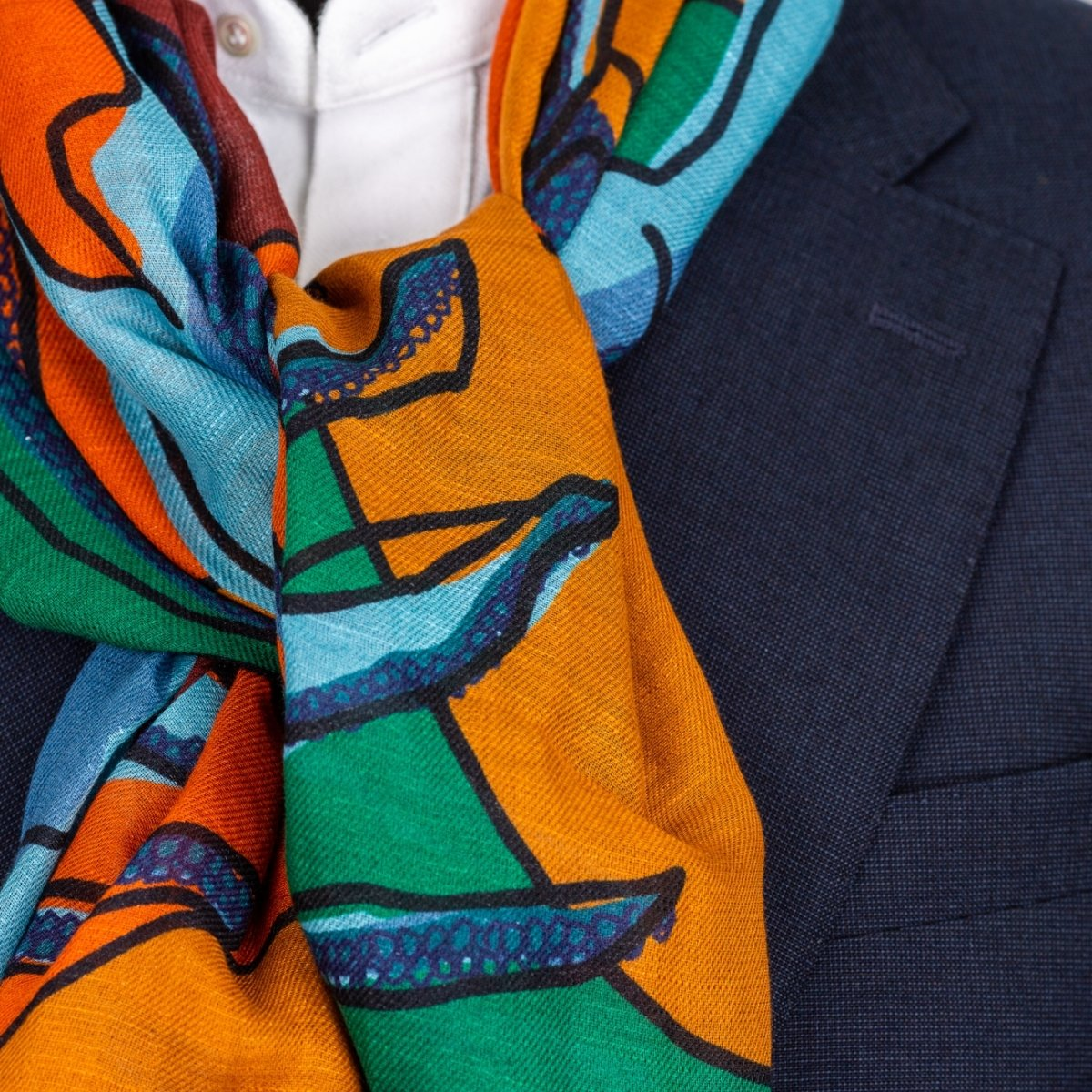 Drake's - Shawl, Orange, Rust and Green Lobster Print Cotton-Linen, Shawl | NEW TAILOR Webshop