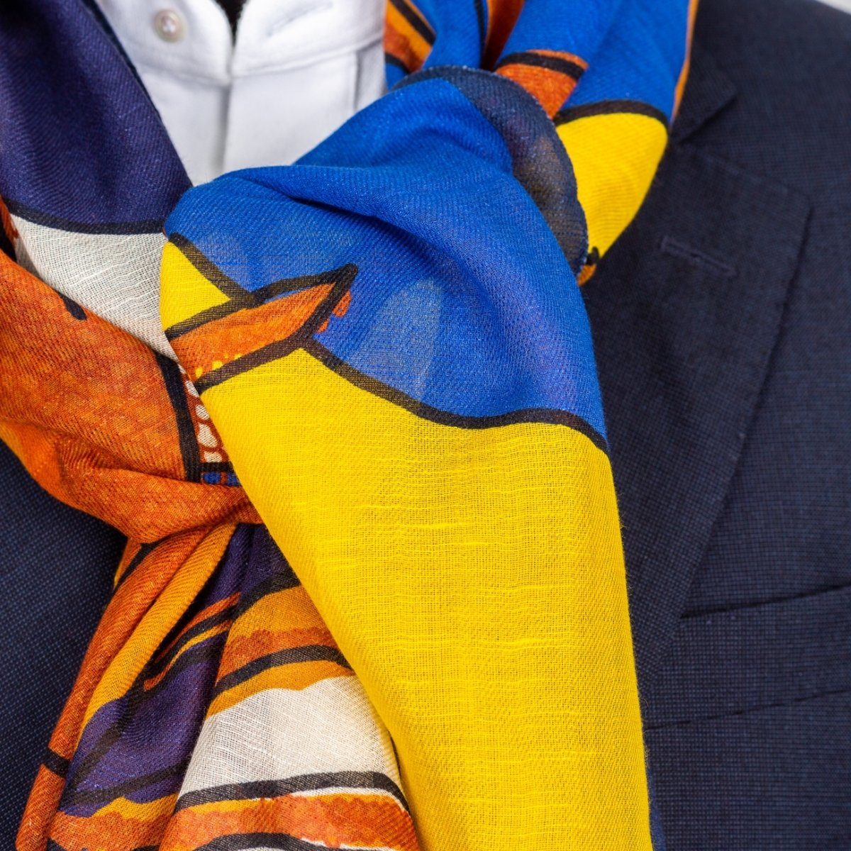 Drake's - Shawl, Orange, Yellow and Blue Lobster Print Cotton-Linen, Shawl | NEW TAILOR Webshop