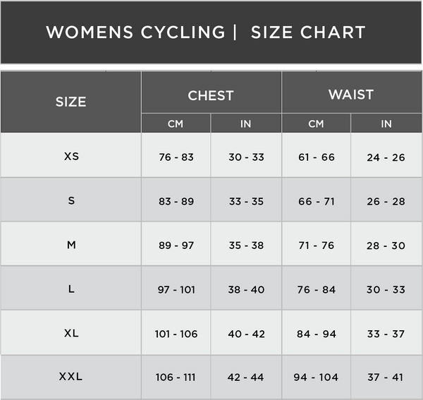 Womens Cycle Clothing Size Chart