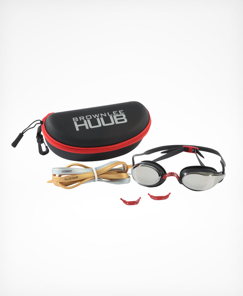 Brownlee Swim Goggle - Red with Light Smoke Mirror Lens