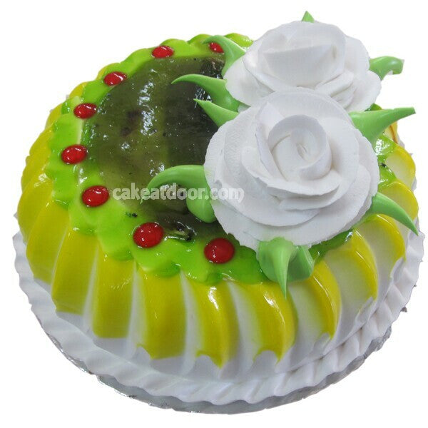 2 Flowers and Cherry Kiwi Cake - C051