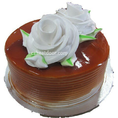 Butterscotch 2 Flowers Cake - C032