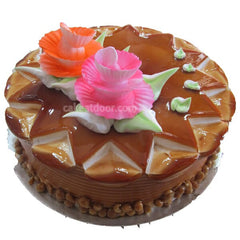 Butterscotch 2 Flowers Cake - C036