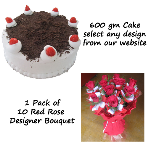 Cake and 1 Original Rose Bouquet - Combo 3