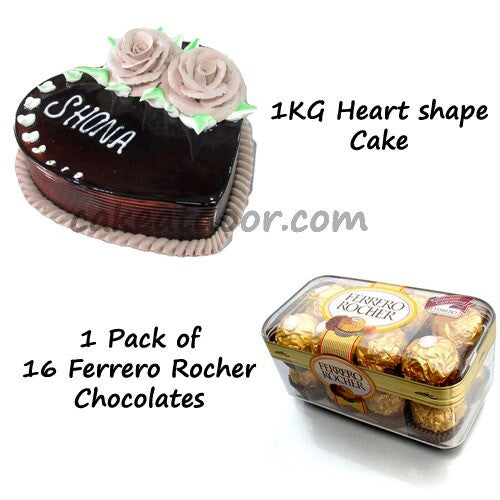 Love Theme Combo with Heart shape cake and Ferrero Rocher - Combo 10