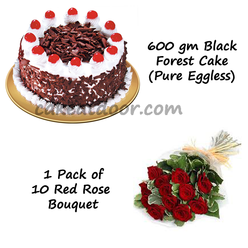 500GM Cake and 1 Bouquet - Combo 1