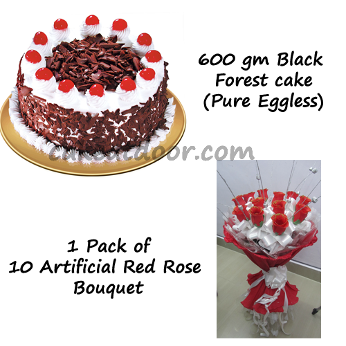 Cake and 1 Artificial flowers Bouquet - Combo 2