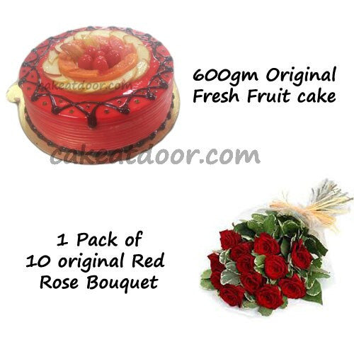 Fresh Fruit cake and Flowers - Combo12