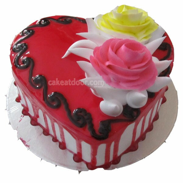 Heart shape 2 Flowers Strawberry cake - C010