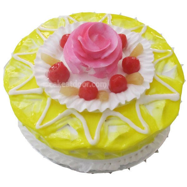 Pineapple cake with one flower and cherries - C015