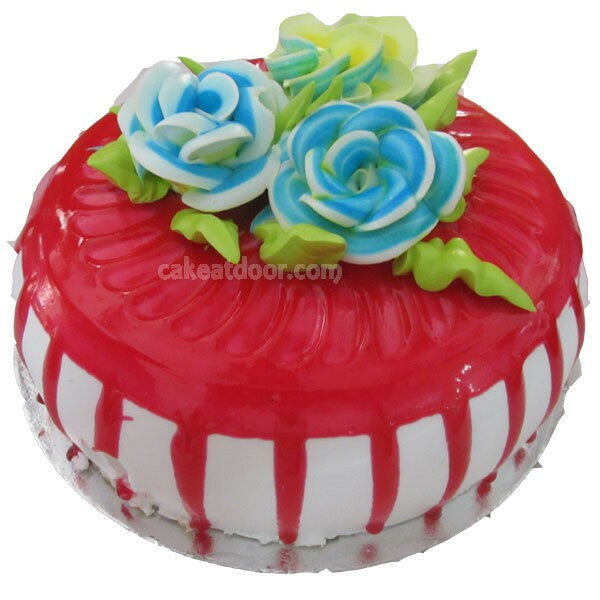 Strawberry Cake with 3 Flowers - C017